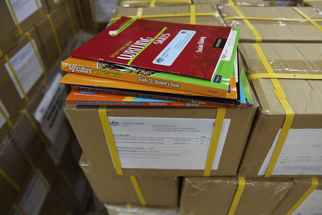 Boxes of books ready for distribution