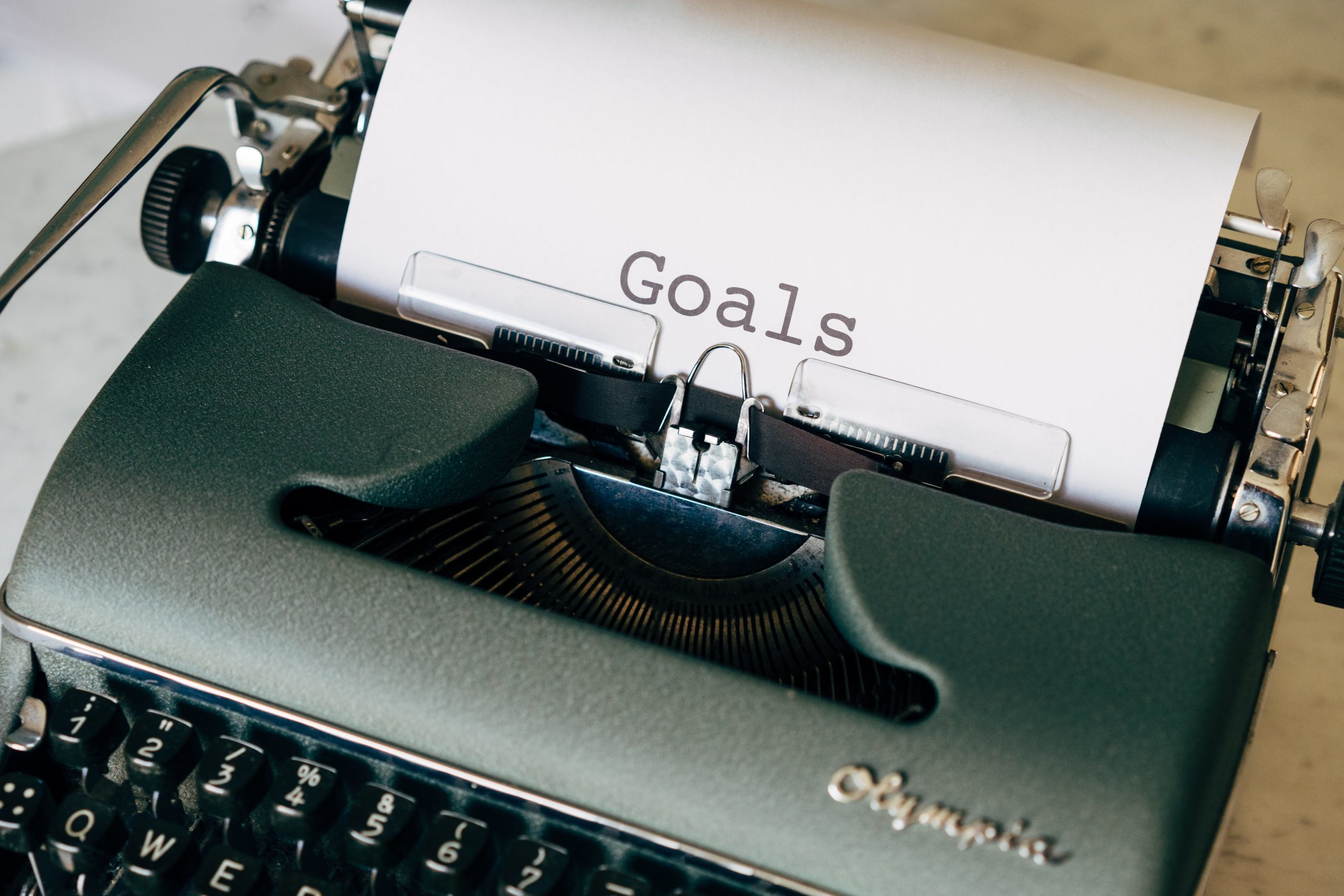 Writing goals on a typewriter